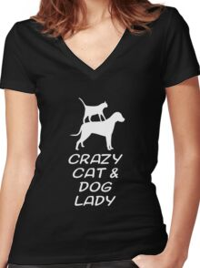 CRAZY CAT & DOG LADY Women's Fitted V-Neck T-Shirt
