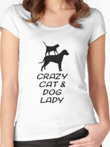 CRAZY CAT & DOG LADY Women's Fitted Scoop T-Shirt