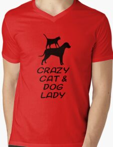 CRAZY CAT & DOG LADY Mens V-Neck T-Shirt