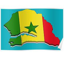 Senegal Map With Senegalese Flag Poster