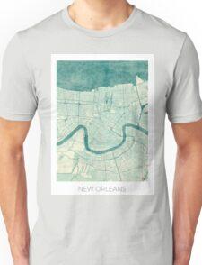 New Orleans Map Blue Vintage Unisex T-Shirt
