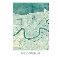 New Orleans Map Blue Vintage Photographic Print