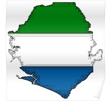 Sierra Leone Map With Flag Poster