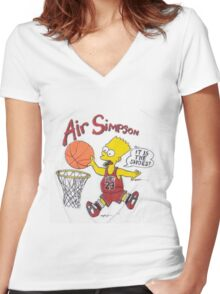 AIR SIMPSON-IT'S IN THE SHOES Women's Fitted V-Neck T-Shirt