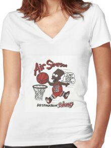 "AIR SIMPSON BLACK BART ""YOU CAN'T TOUCH THIS"" Women's Fitted V-Neck T-Shirt"