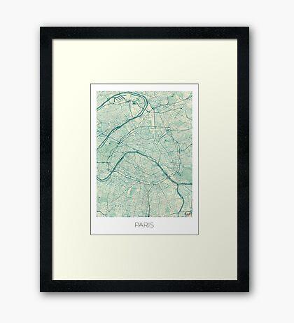 Paris Map Blue Vintage Framed Print