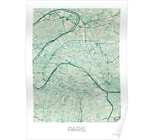 Paris Map Blue Vintage Poster