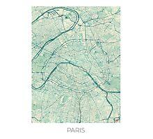 Paris Map Blue Vintage Photographic Print