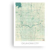 Oklahoma City Map Blue Vintage Canvas Print