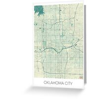 Oklahoma City Map Blue Vintage Greeting Card