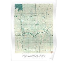 Oklahoma City Map Blue Vintage Poster