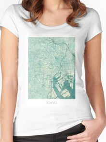Tokyo Map Blue Vintage Women's Fitted Scoop T-Shirt