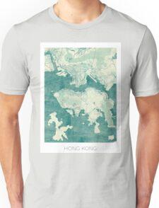 Hong Kong Map Blue Vintage Unisex T-Shirt