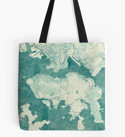 Hong Kong Map Blue Vintage Tote Bag