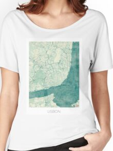 Lisbon Map Blue Vintage Women's Relaxed Fit T-Shirt