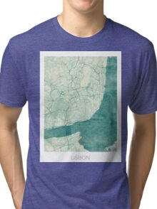 Lisbon Map Blue Vintage Tri-blend T-Shirt