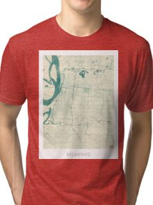 Memphis Map Blue Vintage Tri-blend T-Shirt