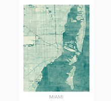Miami Map Blue Vintage Unisex T-Shirt