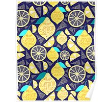 Bright pattern of lemons  Poster