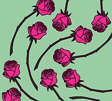 Rose - Pink/Sea Green by tosojourn