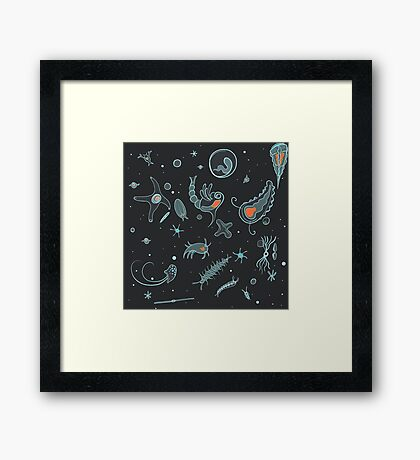 Black, Blue, and Red Nautical Bioluminescent Plankton Pattern Framed Print