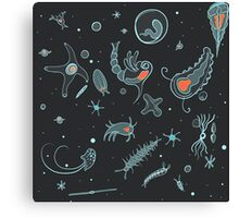 Black, Blue, and Red Nautical Bioluminescent Plankton Pattern Canvas Print