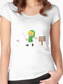 Link and the chickens... Women's Fitted Scoop T-Shirt