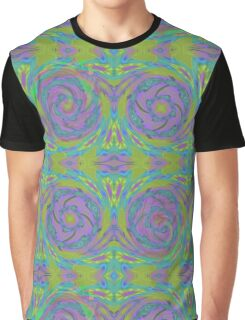 Psychedelic Green Purple Fractal Pattern Graphic T-Shirt