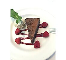 Flourless Chocolate Cake w/Rasberry Sauce and Mint FOODIE If you like, please purchase, try a cell phone cover thanks Photographic Print