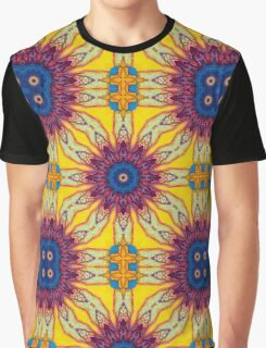 Yellow Purple Blue Fractal Flower Design Graphic T-Shirt