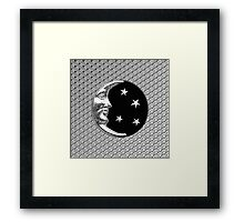 Art Deco Moon and Stars, Black and Silver Framed Print