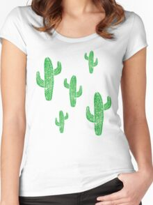 Linocut Cacti #2 Green Women's Fitted Scoop T-Shirt