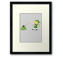 Link and a frog Framed Print
