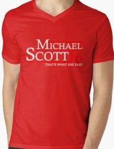 MICHAEL SCOTT 2016 THAT'S WHAT SHE SAID THE OFFICE Mens V-Neck T-Shirt