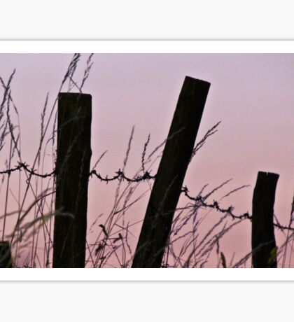 Sunrise in the country with barbed wire Sticker