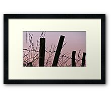Sunrise in the country with barbed wire Framed Print