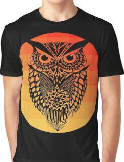 Owl orange gradient oo black bg Graphic T-Shirt
