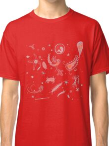 Black, Blue, and Red Nautical Bioluminescent Plankton Pattern Classic T-Shirt