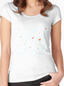 Black, Blue, and Red Nautical Bioluminescent Plankton Pattern Women's Fitted Scoop T-Shirt