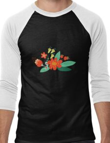 Flowers and hearts Men's Baseball ¾ T-Shirt