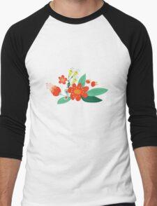 Flowers and hearts Men's Baseball ¾ T-Shirt