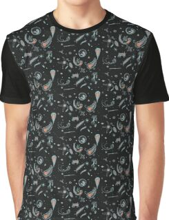 Black, Blue, and Red Nautical Bioluminescent Plankton Pattern Graphic T-Shirt