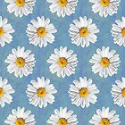 Daisy Blues - Daisy Pattern on Cornflower Blue by Tangerine-Tane