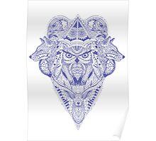 Blue Animal Ink Poster