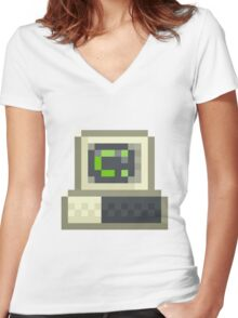 Pixel IBM PC Women's Fitted V-Neck T-Shirt
