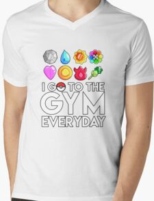 Pokemon - I GO TO THE GYM EVERY DAY - Transparent Mens V-Neck T-Shirt
