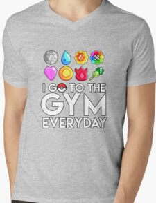 Pokemon - I GO TO THE GYM EVERY DAY - Transparent Mens V-Neck T-Shirt
