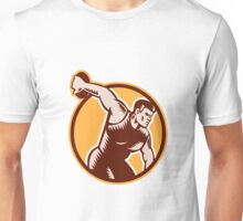 Discus Thrower Circle Woodcut Unisex T-Shirt