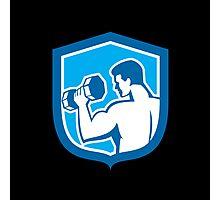 Man Lifting Dumbbell Shield Retro Photographic Print