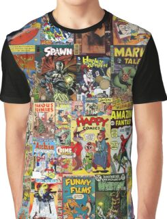 Comic Book Cover Collage Graphic T-Shirt